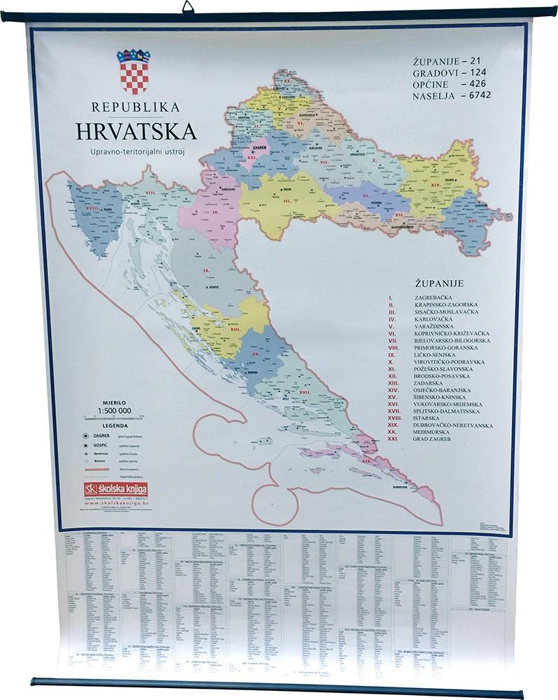 Republika Hrvatska - Zemljovid - Upravno-teritorijalni ustroj