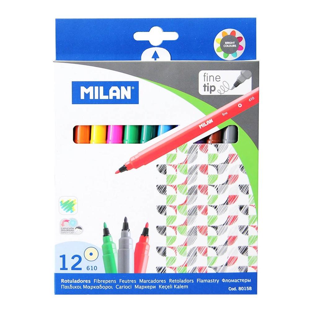 Flomasteri, 12 boja, tanki vrh - MILAN